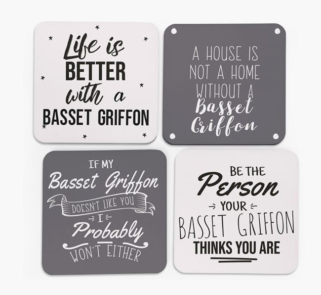 Grand Basset Griffon Vendeen Quote Coasters - Set of 4