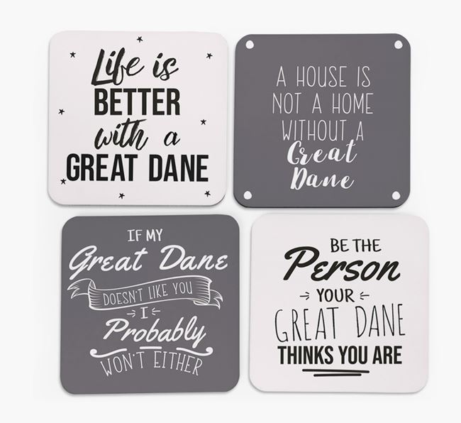 Great Dane Quote Coasters - Set of 4