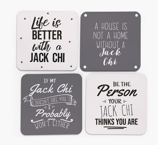 Jackahuahua Quote Coasters - Set of 4