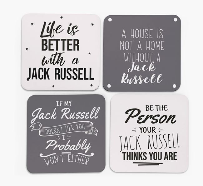 Jack Russell Terrier Quote Coasters - Set of 4