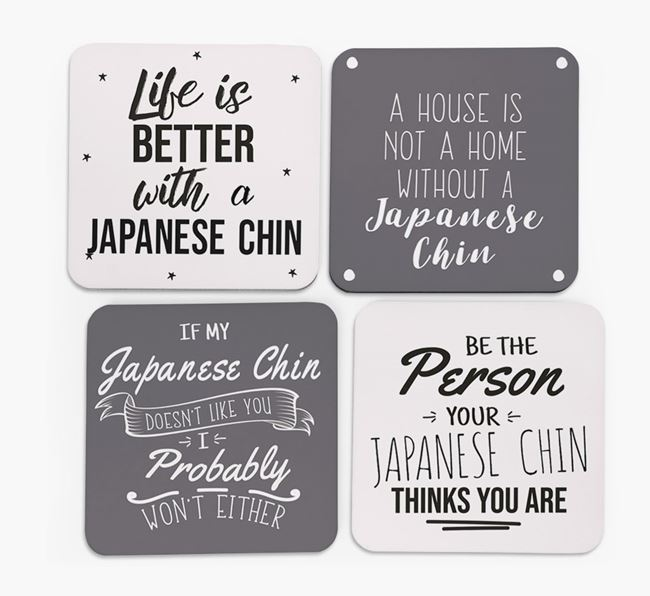 Japanese Chin Quote Coasters - Set of 4