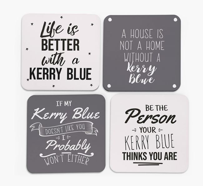Kerry Blue Terrier Quote Coasters - Set of 4