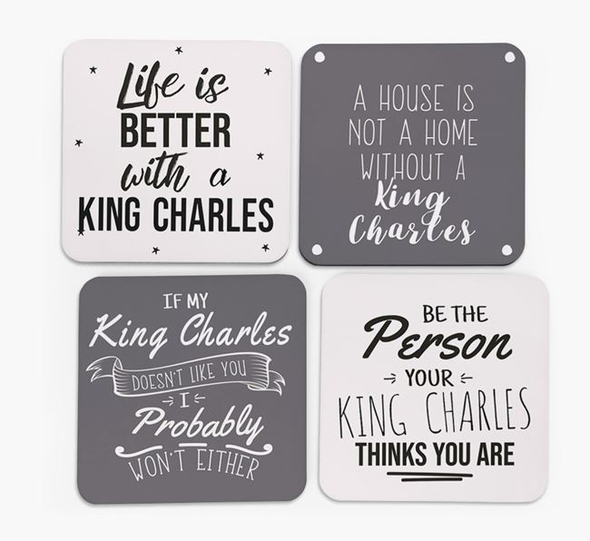 King Charles Spaniel Quote Coasters - Set of 4