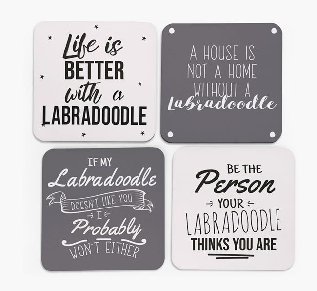 Labradoodle Quote Coasters - Set of 4