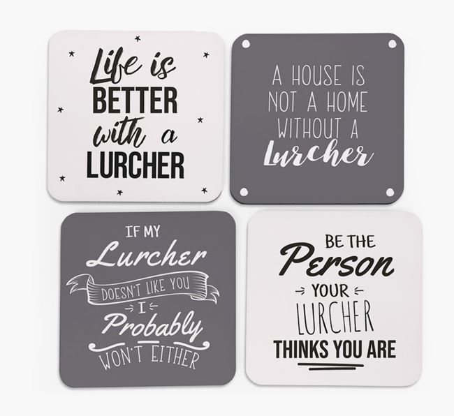 Lurcher Quote Coasters - Set of 4