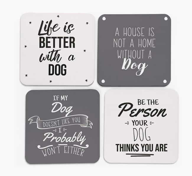 Mixed Breed Quote Coasters - Set of 4