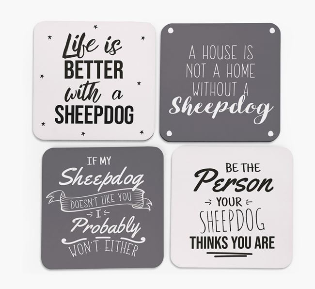 Old English Sheepdog Quote Coasters - Set of 4