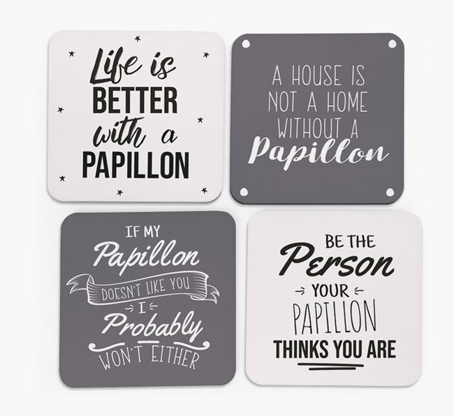 Papillon Quote Coasters - Set of 4