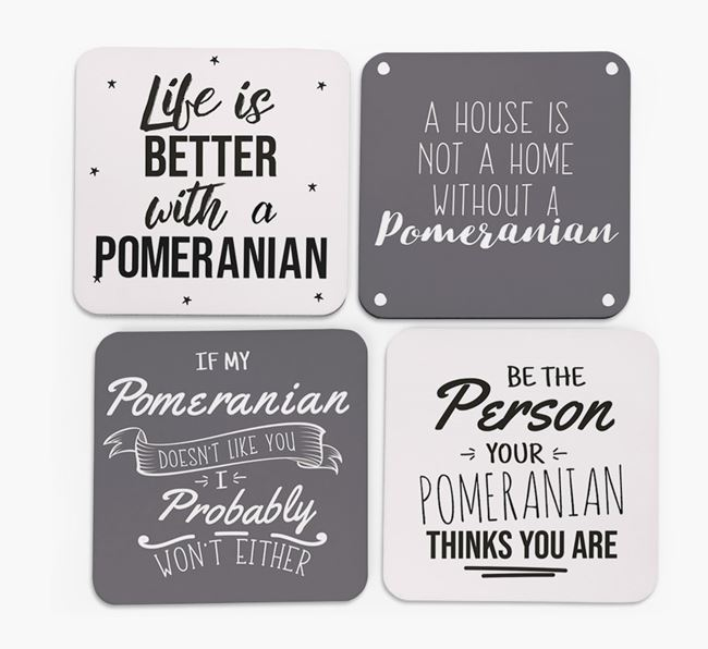 Pomeranian Quote Coasters - Set of 4