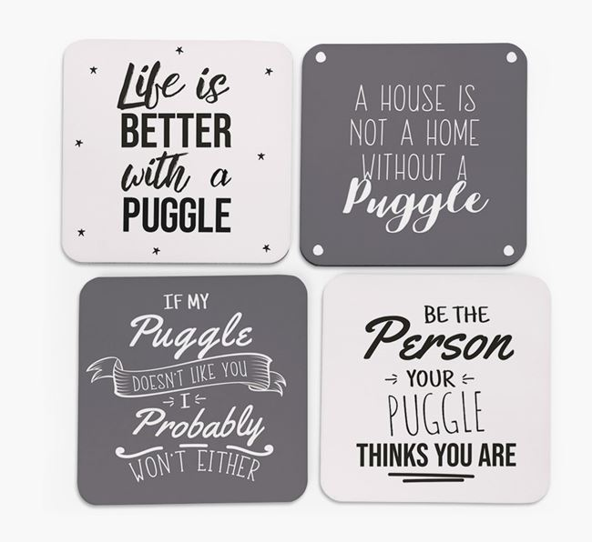 Puggle Quote Coasters - Set of 4
