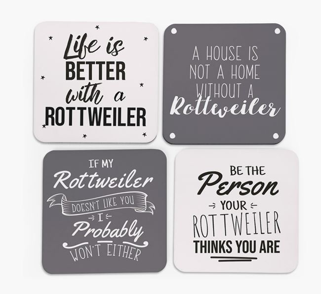 Rottweiler Quote Coasters - Set of 4