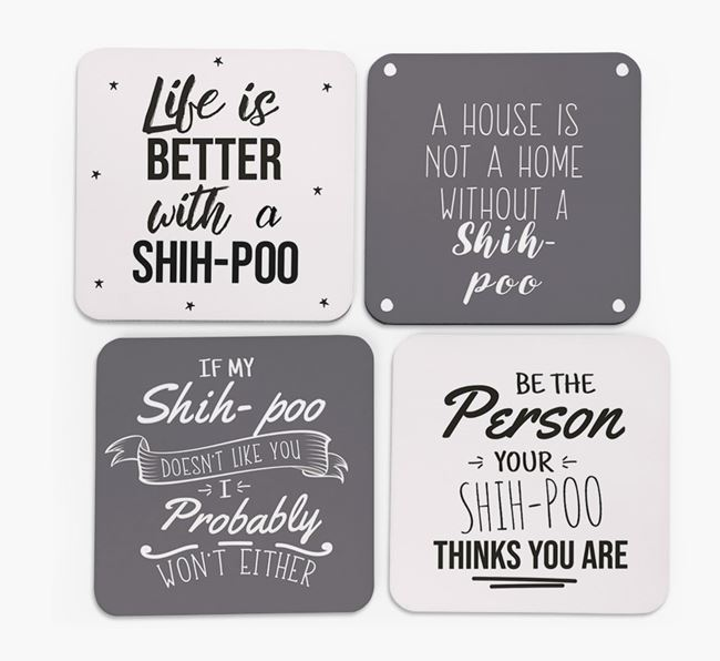 Shih-poo Quote Coasters - Set of 4