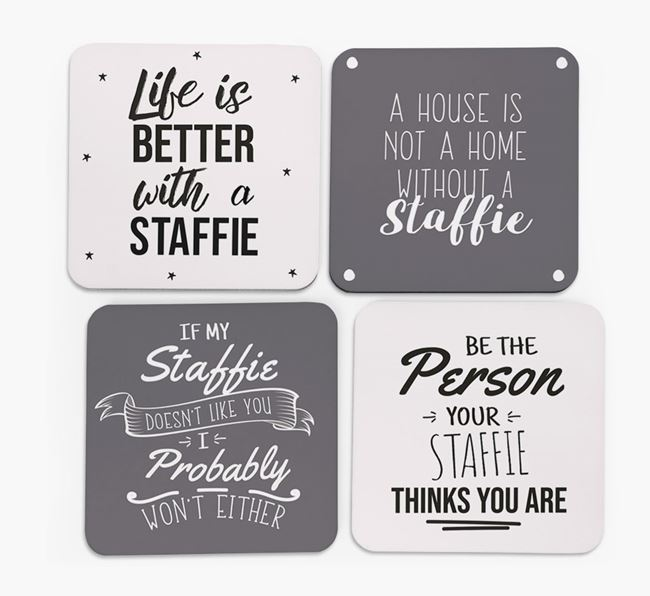 Staffordshire Bull Terrier Quote Coasters - Set of 4
