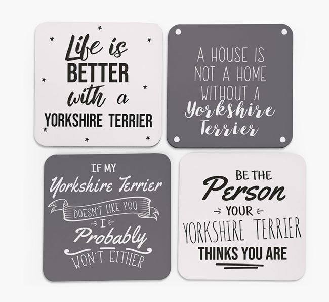 Yorkshire Terrier Quote Coasters - Set of 4