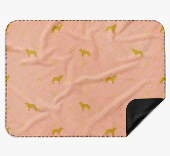 Blanket with Border Collie Silhouette Geometric Pattern