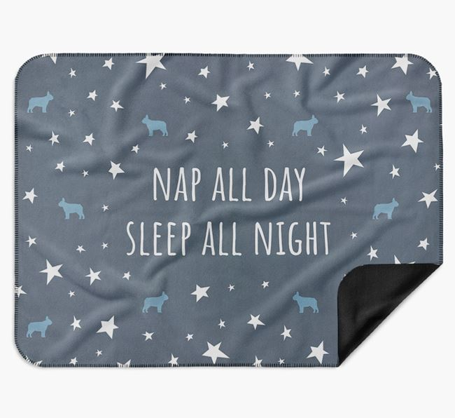 'Nap All Day, Sleep All Night' Blanket with French Bulldog Silhouettes