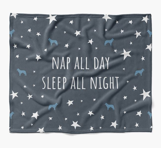 'Nap All Day, Sleep All Night' Blanket with Belgian Groenendael Silhouettes