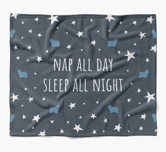 'Nap All Day, Sleep All Night' Blanket with Bergamasco Silhouettes