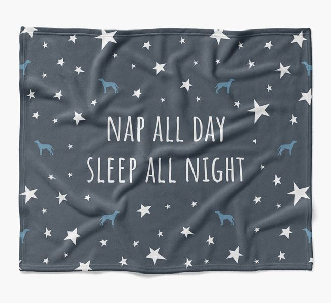 'Nap All Day, Sleep All Night' Blanket with Blue Lacy Silhouettes