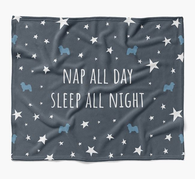 'Nap All Day, Sleep All Night' Blanket with Bolognese Silhouettes