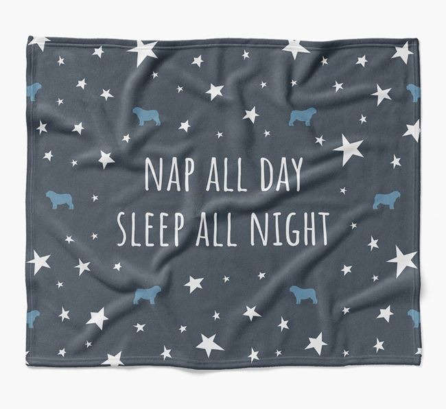 'Nap All Day, Sleep All Night' Blanket with Bull Pei Silhouettes