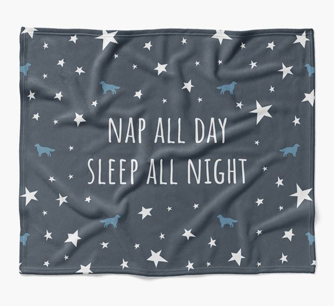 'Nap All Day, Sleep All Night' Blanket with Flat-Coated Retriever Silhouettes
