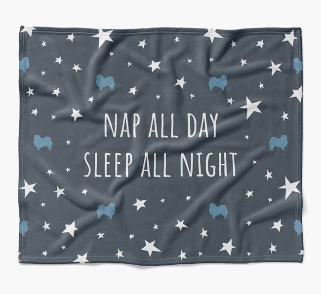 'Nap All Day, Sleep All Night' Blanket with Pekingese Silhouettes