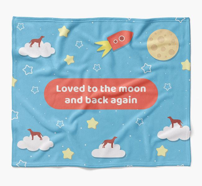 'Moon and Back' Blanket with Blue Lacy Silhouettes
