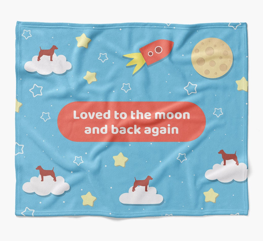 'Moon and Back' Blanket with Dog Silhouettes flat