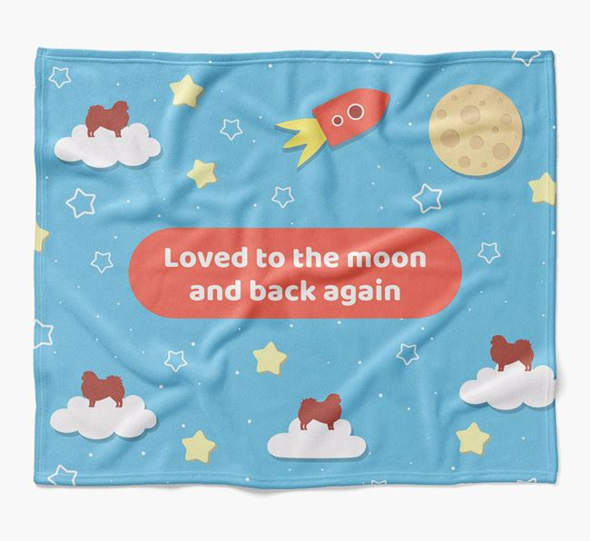 'Moon and Back' Blanket with Pekingese Silhouettes
