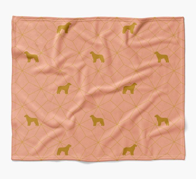 Blanket with Aussiedoodle Silhouette Geometric Pattern