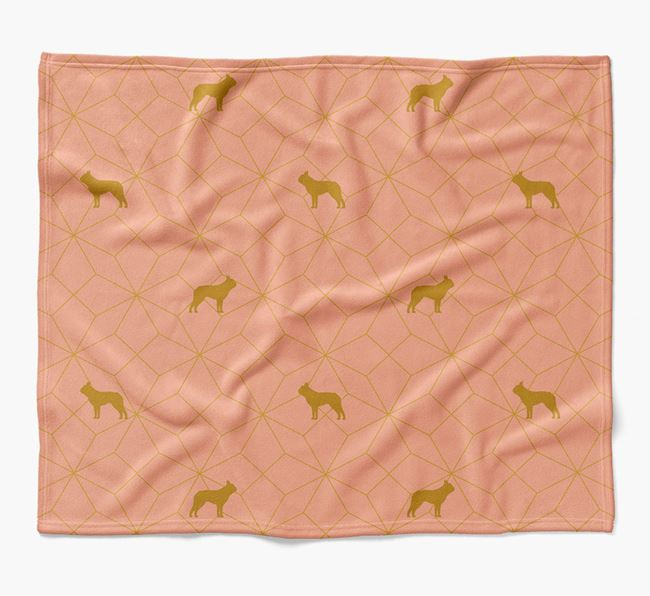 Blanket with Dog Silhouette Geometric Pattern