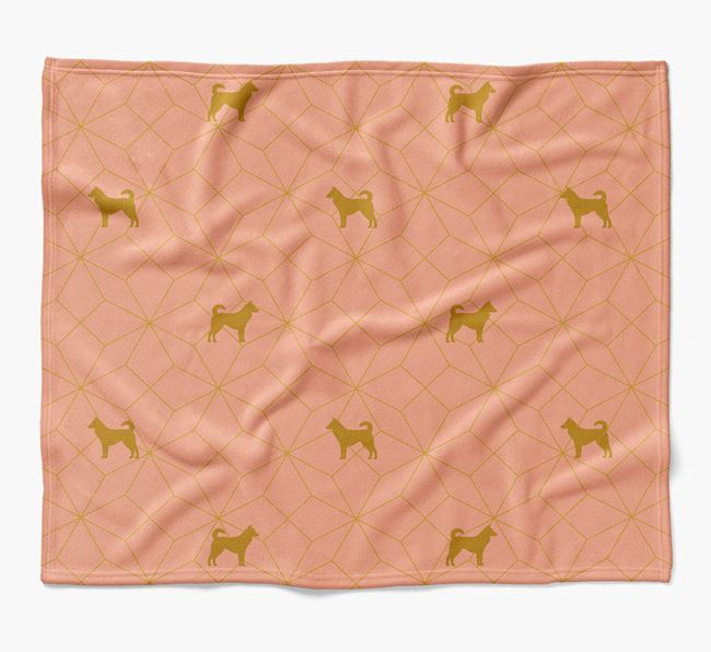Blanket with Canaan Dog Silhouette Geometric Pattern