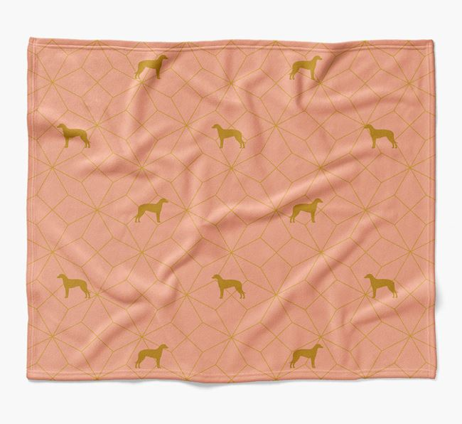 Blanket with Lurcher Silhouette Geometric Pattern