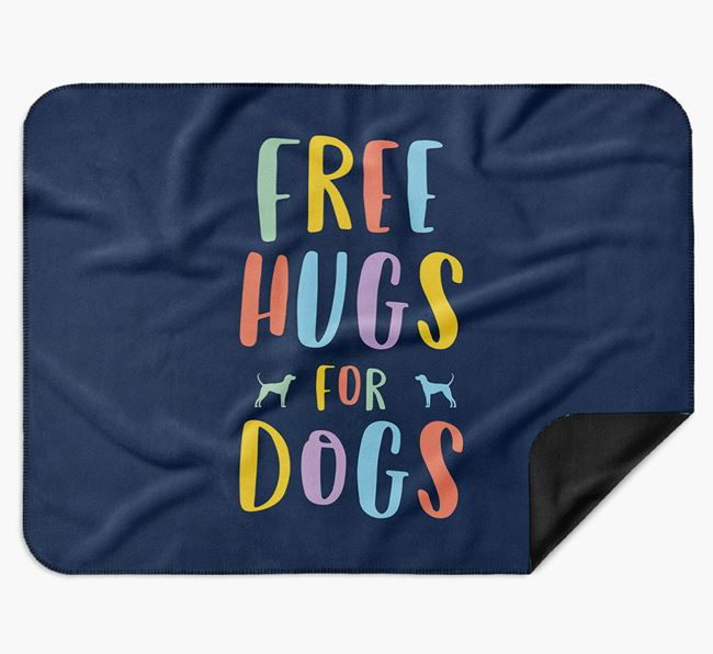 'Free Hugs' Blanket with Black and Tan Coonhound Silhouettes