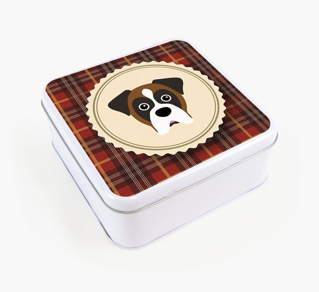 Tartan Square White Tin with Boxer Icon