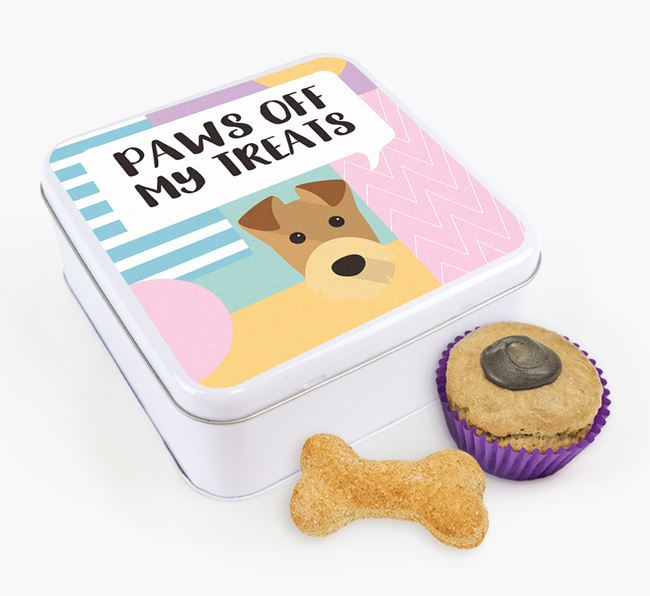 'Paws Off' Square Tin for Airedale Terrier's Treats