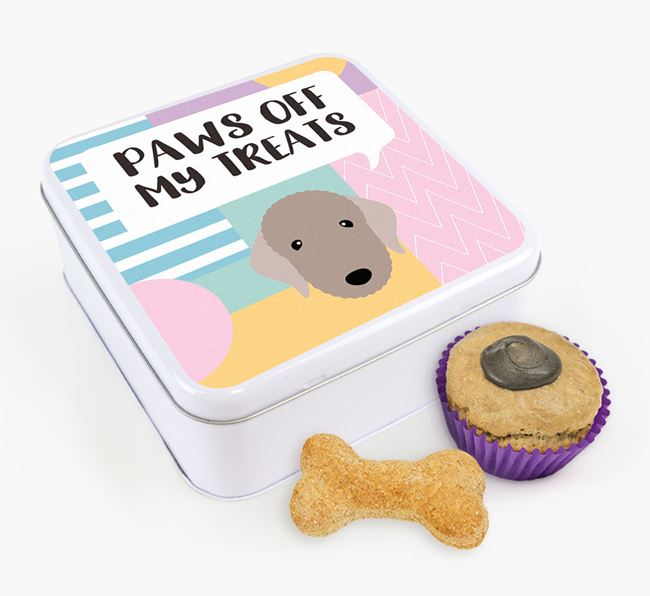 'Paws Off' Square Tin for Bedlington Terrier's Treats