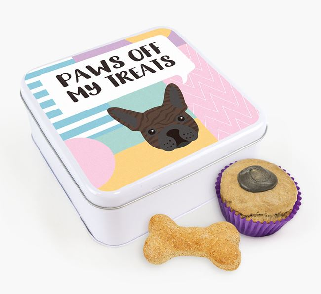 'Paws Off' Square Tin for French Bulldog's Treats
