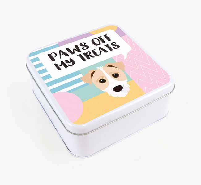 'Paws Off' Square Tin for Jack-A-Poo's Treats