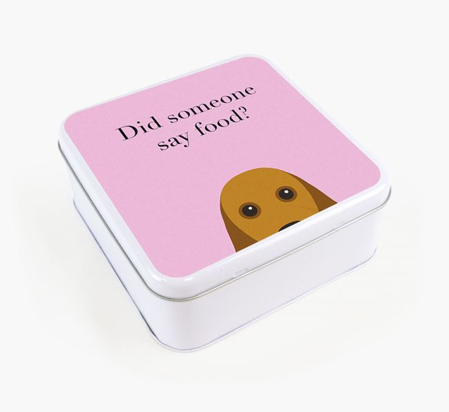 'Did someone say food?' Square Tin for American Cocker Spaniel's Treats