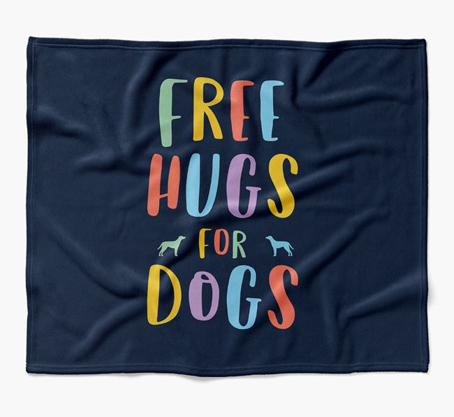 'Free Hugs' Blanket with Blue Lacy Silhouettes