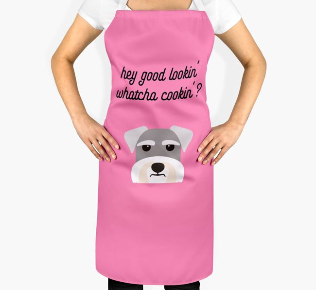 'Whatcha Cooking...?' Adult Apron with Miniature Schnauzer Icon