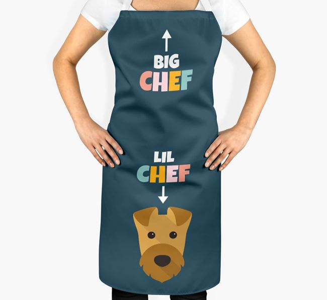 'Big Chef, Lil' Chef' Adult Apron with Airedale Terrier Icon