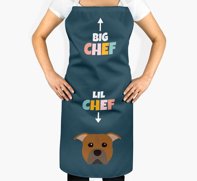 'Big Chef, Lil' Chef' Adult Apron with American Pit Bull Terrier Icon