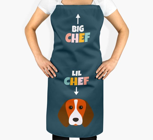 'Big Chef, Lil' Chef' Adult Apron with Beagle Icon