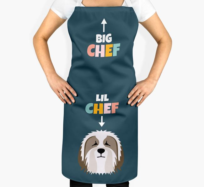 'Big Chef, Lil' Chef' Adult Apron with Bearded Collie Icon