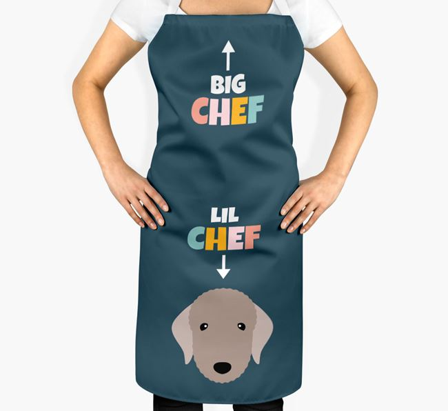 'Big Chef, Lil' Chef' Adult Apron with Bedlington Terrier Icon