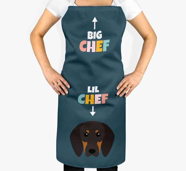 'Big Chef, Lil' Chef' Adult Apron with Black and Tan Coonhound Icon