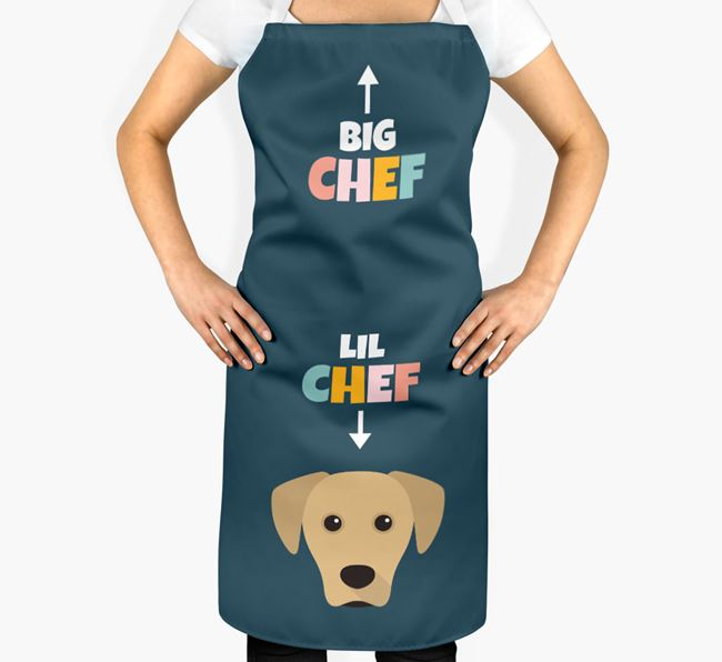 'Big Chef, Lil' Chef' Adult Apron with Blue Lacy Icon